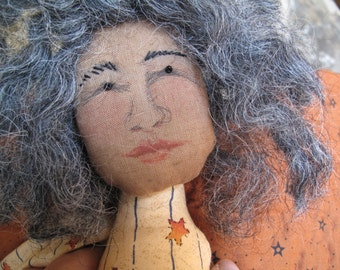 Dark Skinned Art Doll Angel, Woman of Color, Holiday, Grey Gray Hair, With Wreath, Folk Art, Beautiful Hand Painted Face, Sculpted Cloth