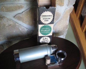 Stanley Vacuum Bottle, In Box, Cork Stopper,Vintage Thermos Style Container, Unbreakable, Universal Stanley Vacuum Bottle, Stainless Steel
