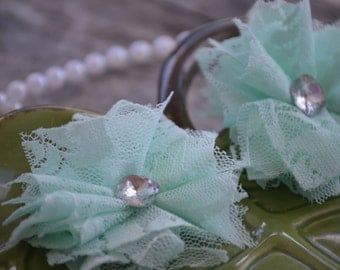 "Set of 2 Lace Flower, Fabric Flower, Mint Lace Flower,  3"" Lace Fabric Flower, Fabric Flowers, Lace Flowers, Ballerina Lace Flower"
