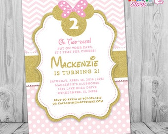 Pink and Gold Minnie Mouse Invitations, Pink and Gold Minnie Mouse First or Second Birthday Invitation
