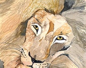 ACEO Limited Edition 1/25- Eye-catcher, Lion, Animal painting, Art print of an original watercolor painting, Cute painting for animal lovers