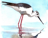 ACEO Limited Edition 6/25- Reflection in winter beach, Shorebird, Art print of an original ACEO watercolor by Anna Lee, Gift idea