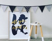 monochrome black and white fabric banner bunting
