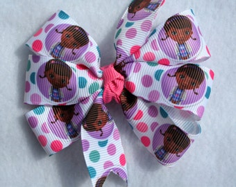 Dr McStuffing Hair Bow, Hair Clip, Hair Accessory, Pink, Polka Dots