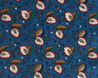 Blue Cotton Fabric / Blue Floral Fabric/ Cotton Fabric /  Leaf Fabric / Quilting Fabric / 3/4 Yard