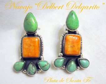 """Navajo""""DELBERT DELGARITO"""" Colorful Spiny Oyster/Green Turquoise 925 Earrings"""