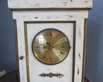 Vintage Shabby Chic White Wood Clock Brass Mantle Shelf