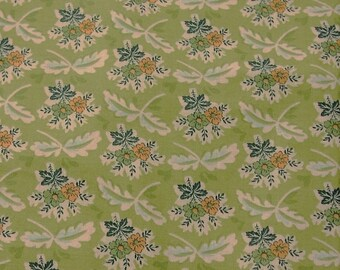 """Soft olive provencal style floral print cotton fabric - 42 """" wide BTY"""
