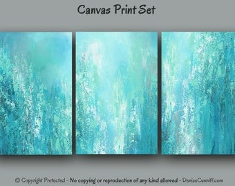 Teal abstract painting Canvas print set multi panel, Large 3 piece wall art, Turquoise gray aqua green blue, Home decor, Office, Bedroom