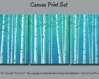 Birch tree canvas print set, Multi panel 3 piece, Teal blue green aqua, Turquoise gray home decor, Bedroom, Office wall art Large, Oversized