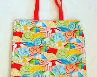 Tote Bag, Umbrellas Print Tote Bag, Cotton Print Tote Bag, Umbrellas Tote Bag, Umbrellas