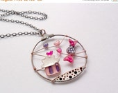 Cupcake necklace, candy pendant, bronze wire round necklace, free shipping, cupcake pink jewelery, miniature food jewelry