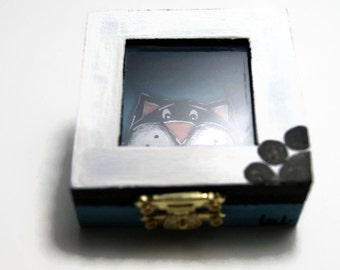 Black cat box - Blue jewelry box - Box with clear window - Treasury box