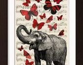 Elephant with Red Butterflies  print on upcycled Vintage 1920's Sheet Music Page mixedd media digital page ink animal