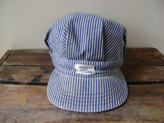 conductor hat template - 70s striped denim conductor hat vintage blue wash white thin