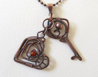 40%OFF, Valentines Day Handmade Copper Key Heart Reversible Pendant/Necklace, Copper Chain