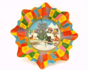Vintage 1950s Paper Christmas Bowl West German Christmas Decoration