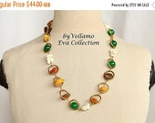 SALE Statement necklace with round twisted gold plated metal, natural Baltic amber, green jade, white howlite beads, light weight summer nec