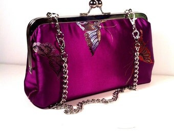 Purple Pink  Butterfly Purse, Clutch, Bag 8 X 5 X 2 w/ 20 inches Silver Chain Handle