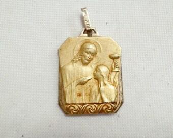 Antique Religious Fix Medal French Art Deco Jesus Giving Communion v598