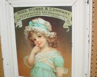Little Girl  Wood, Stubbs & Company ad, Print in Shabby Frame / Glass