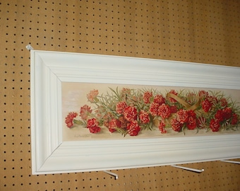 Yardlong Print in Shabby frame with Glass... by Grace Barton Allen, Carnations