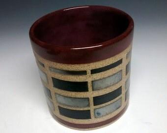 Ceramic Cup - Modern - Handmade Pottery - Maroon Stoneware