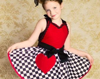 Little Girl's Retro Costume Apron Full Circular Skirt Queen of Happy Hearts