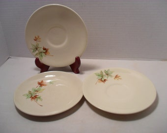 Lot of 3 Autumn or Fall Colored Leaves Leaf Small Plates Saucers Thanksgiving Holiday Season Decor
