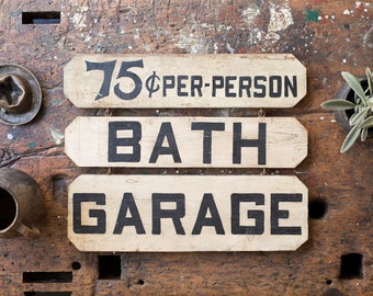 Vintage Sign /  Country Store Vintage Advertising / Bath Garage Wooden Trade Sign