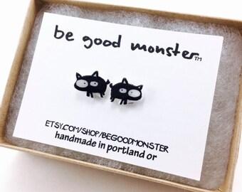 Black Cat Earrings  - Studs -  Shrinky Dink - Shrink Plastic