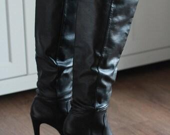 Women Black Boots  High Heels  Size  EU 37 Vintage Shoes