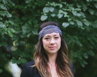 Gray Stretch Lace Headband