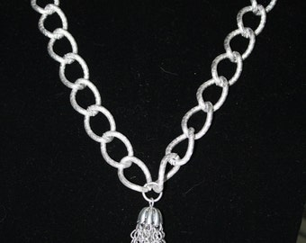 Large Silver Tassel Necklace, Vintage