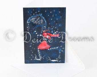 Fashion Greeting Card, Girl with Umbrella Card, Whimsical Card Dancing in the Rain Just Because Blank Note Card Urban Fashion Wall Art Decor