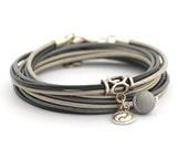 Black Druzy Bracelet, Silver Gray Black Boho Bracelet, Yin Yang Yoga Bracelet, Bohemian Jewelry, Women Bracelet, gift for her