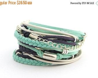 SALE Navy Mint Bohemian Bracelecet, Mint Teal Women Wrap Bracelet,  Mint Pale Teal Navy Boho Bracelet, Gypsy Bracelet, Gift for her, boho ch