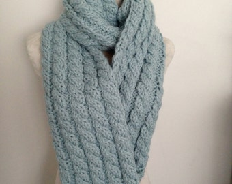 Keep Toasty Warm This Winter in this Hand knitted Cable Scarf-Hand knitted-Made in New Zealand-Pink-Blue-Fig-Grey