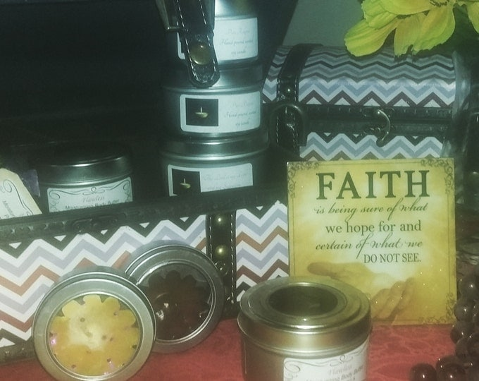 Featured listing image: Gift box of Pure Religion Products (soy candles, bath bombs, hair & body butter, salt/sugar scrub)