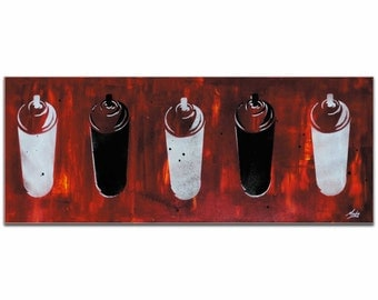 Mendo Vasilevski 'Graffiti Homage in Red' - Contemporary Urban Wall Art, Graffiti Painting Artwork, Modern Giclée Decor