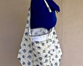 Large Folding Market Bag, Unlined Grocery Bag, Lightweight Shopping Bag, Cotton Fabric Just-in-Case Bag, Project Bag