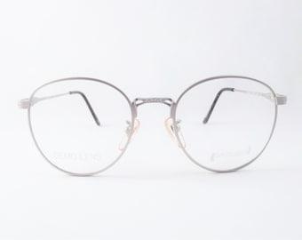 Gunmetal Silver Eyeglasses, Womens Round Eyeglass Frames, Grey Mat Metal Vintage Eyewear, Steampunk Glasses, New Old Stock