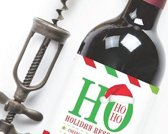 Ho Ho Ho Holiday Reserve ... Holiday Printable Wine Label Wrap - Instant Download PDF