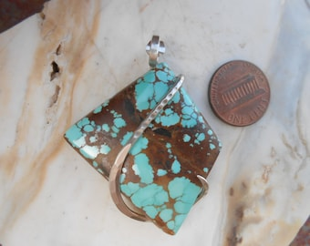 Cabochon Sky Cloud Turquoise Silver Wrapped Pendant