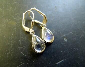 Earring, earrings, Moonstone, sterling silver, Bridal, white, silver