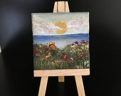 "Original Handmade Mini/Small Art Painting; Seascape of the Sun, Ocean, and Flowers; 2.5"" Square Canvas with Mini Easel- Acrylic"