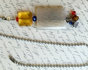 White Stone Ceiling Fan Pull with Colorful Beads