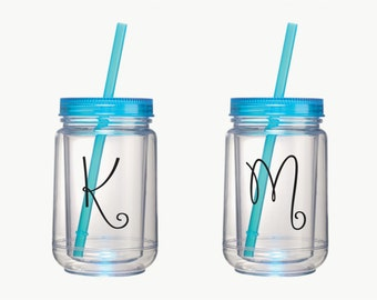2 Personalized Mason Jar Tumblers, Bridesmaid Gifts, Bridesmaids Gifts, Personalized Mason Jar, Personalized Bridesmaid Gifts