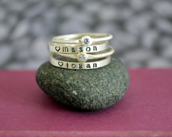Mother's Birthstone and Skinny Name Ring Stacking Set in Sterling Silver, Stacking birthstone rings, Stacking name rings