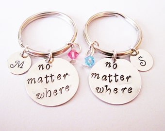 2 best friends keychains, no matter where key chains, personalized initials key fob, custom birthstone keyrings, two bff gift, xmas present